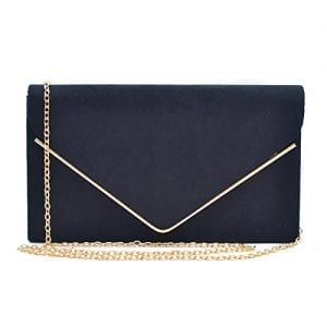Read more about the article Dasein Ladies' Velvet Evening Clutch Handbag Formal Party Clutch For Women With Chain Strap (Black)