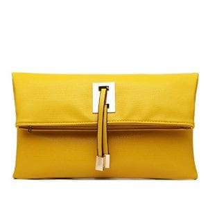Abshoo Women Clutch Purse Evening Faux Leather Clutch Bags (Yellow)