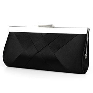 Read more about the article Bidear Satin Evening Bag Clutch, Party Purse, Wedding Handbag with Chain Strap for Women Girl (Black)