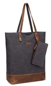 Read more about the article Leather Canvas Tote,Vaschy Soft Cotton Vintage Large Shopper Work Tote for Women Grey