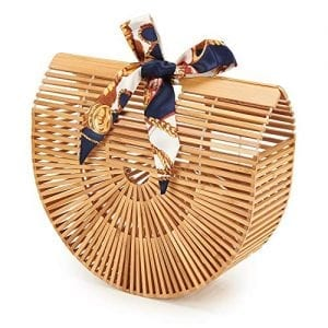 Read more about the article Usbagtech Womens Bamboo Handbag Handmade Large Tote Bag Handle Straw Beach Bag Bamboo Ark Purse Lady Clutch