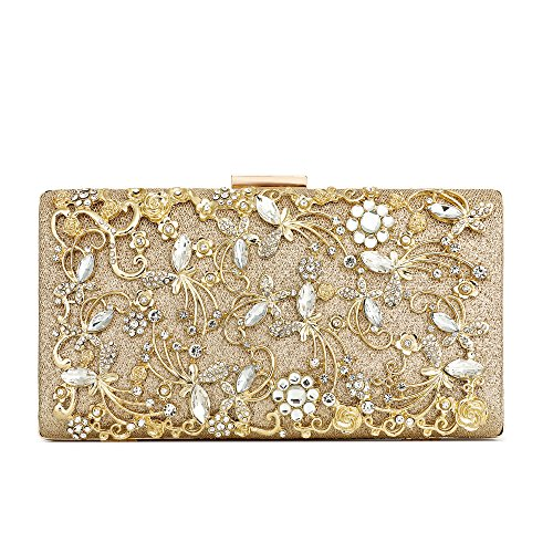 Read more about the article Minicastle Large Womens Noble Evening Clutch Bag Wedding Purse Bridal Prom Handbag Party Bag Gold
