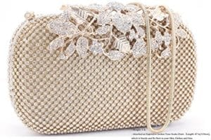 Read more about the article Dexmay Luxury Flower Women Clutch Purse Rhinestone Crystal Evening Bag for Wedding Party Gold