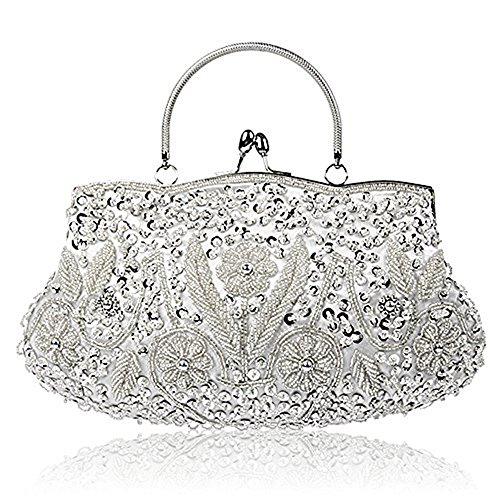 You are currently viewing EROUGE Beaded Sequin Design Flower Evening Purse Large Clutch Bag (Silver)