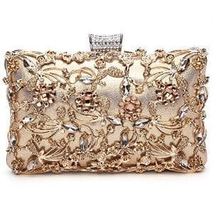 Read more about the article GESU Large Womens Crystal Evening Clutch Bag Wedding Purse Bridal Prom Handbag Party Bag.(Gold)