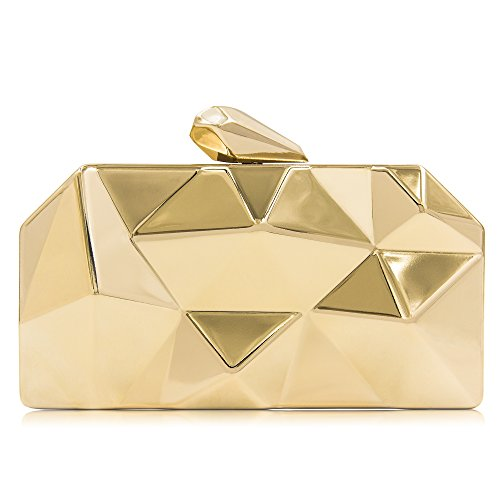 Read more about the article Milisente Women Fashion Metal Evening Handbags Geometric Clutches Purses Bag (Gold)