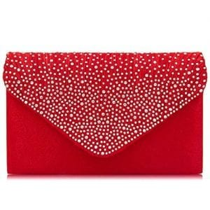 Read more about the article Women Evening Bag Envelope Rhinestone Frosted Clutches Party Bridal Clutch Purse (Red)