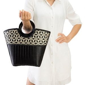 Read more about the article Natural Chic Hand Woven Round Handle Handbags (Medium, Black, white)