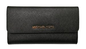 Read more about the article Michael Kors Jet Set Travel Large Saffiano Leather Trifold Wallet (Black)