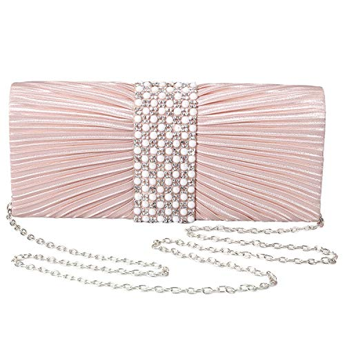 Read more about the article Womens Satin Clutch with Pearl and Diamond Evening Handbag for Party Cocktail Wedding Purse Wallet Bag (ROSE GOLD)