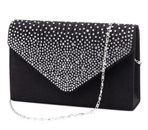 Read more about the article Jubileens Ladies Large Evening Satin Bridal Diamante Ladies Clutch Bag Party Prom Envelope (Black)