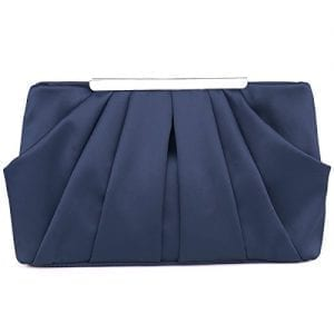 Read more about the article Womens Pleated Satin Evening Handbag Clutch With Detachable Chain Strap Wedding Cocktail Party Bag