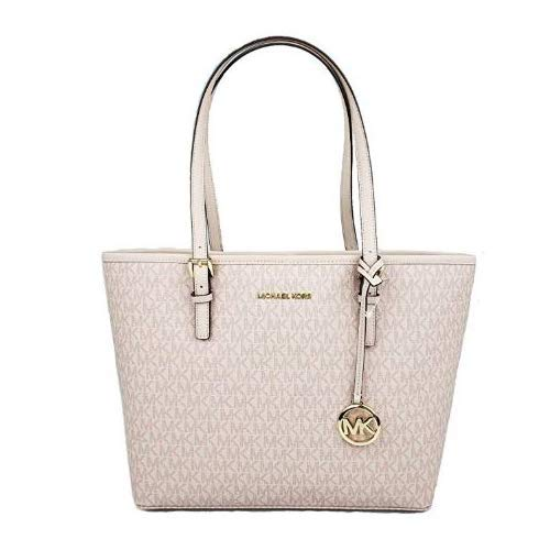 MICHAEL Michael Kors Jet set travel medium MD carryall tote bag signature PVC ballet pink
