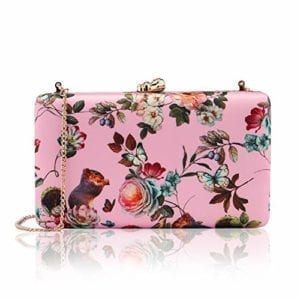 Read more about the article two the nines Women's Floral Print Satin Evening Bag Clutches Thin Chain Hardcase Pink