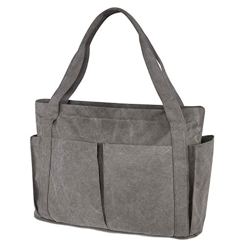 Women's Tote Bag Canvas Large Capacity Work Tote Shoulder Bag (Gray)