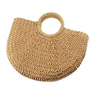 Read more about the article Handwoven Round Rattan Bag,Bamboo Bag,Natural Chic Hand,Handmade Top Handle Handbag for Summer Sea (Coyote brown)