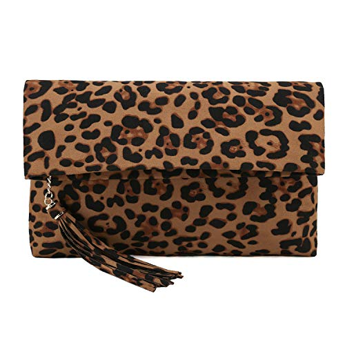 Read more about the article Charming Tailor Leopard Clutch Bag for Women Tassel Foldover Clutch Faux Suede Dressy Purse for Day to Evening (Brown)
