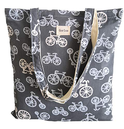 Read more about the article Women's Canvas Tote Shoulder Bag Stylish Shopping Casual Bag Foldaway Travel Bag (35-No closure-Bicycle grey)