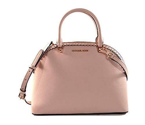 Michael Kors Emmy Large Dome Satchel Saffiano Leather Studded Scalloped Edge Shoulder Bag Purse Handbag (Blossom)