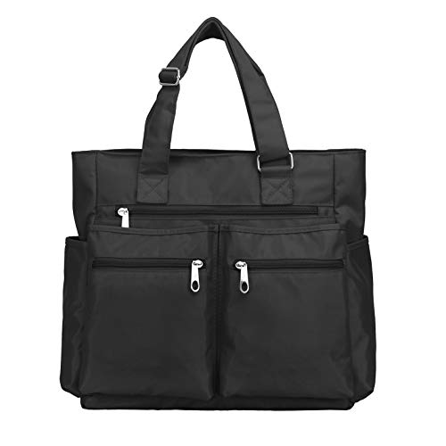Waterproof Nylon Oxford Large Tote Bags Multi-pocket Fashion Travel Laptop Work Purse for Women & Men (Black)