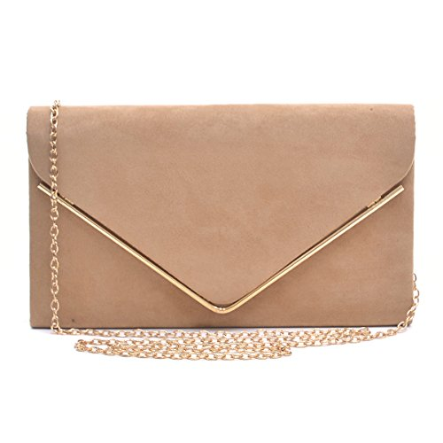 Read more about the article Dasein Ladies' Velvet Evening Clutch Handbag Formal Party Clutch For Women With Chain Strap (Camel)