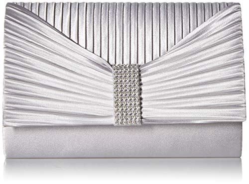 Jessica McClintock Women's Alexis Pleated Flap with Rhinestones, Silver