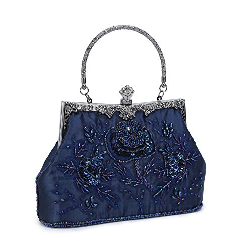 UBORSE Women's Embroidered Beaded Sequin Evening Clutch Large Wedding Party Purse Vintage Bags Navy Blue