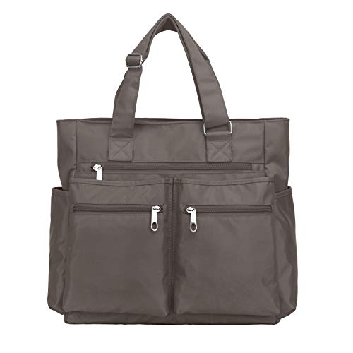 Waterproof Nylon Oxford Multi-pocket Tote Bags Fashion Travel Laptop Briefcase Work Purse for Women & Men (Grey)