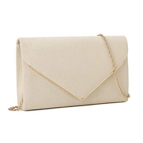 Read more about the article Charming Tailor Faux Suede Clutch Bag Elegant Metal Binding Evening Bag for Wedding/Prom/Black-tie Events (Beige)