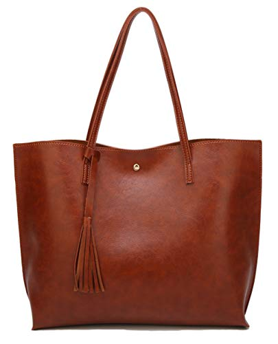 Women's Soft Faux Leather Tote Shoulder Bag from Dreubea, Big Capacity Tassel Handbag Brown (New Style)
