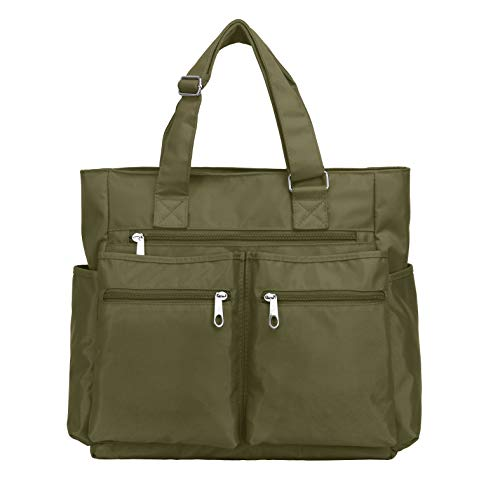 Canvas Tote Bag Waterproof Nylon Multi Pocket Shoulder Bags Laptop Work Bag Teacher Purse and Handbags for Women & Men (Army Green)