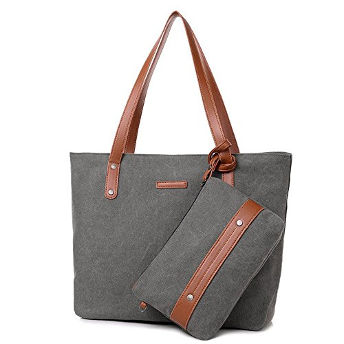S-ZONE Women Tote Handbag Work Bag Shopping Canvas Daily Shoulder Bag with Purse