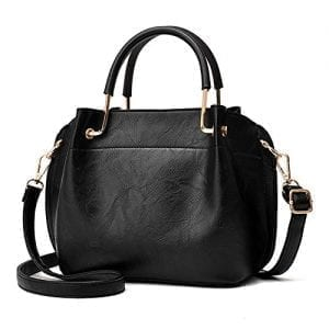 Read more about the article Nevenka PU Leather Women Top Handbags Satchel Purse Crossbody Bag with 3 layers (Pure Black)