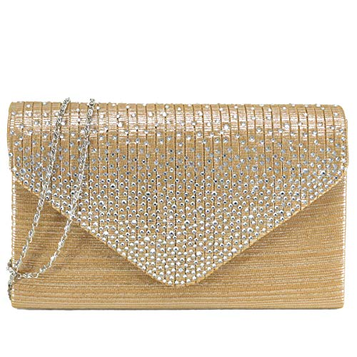 Read more about the article Dasein Women Evening Envelope Handbag Party Prom Clutch Purse Shoulder Cross Body Bag (Gold)