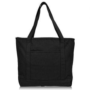 Read more about the article DALIX 20″ Solid Color Cotton Canvas Shopping Tote Bag in Black