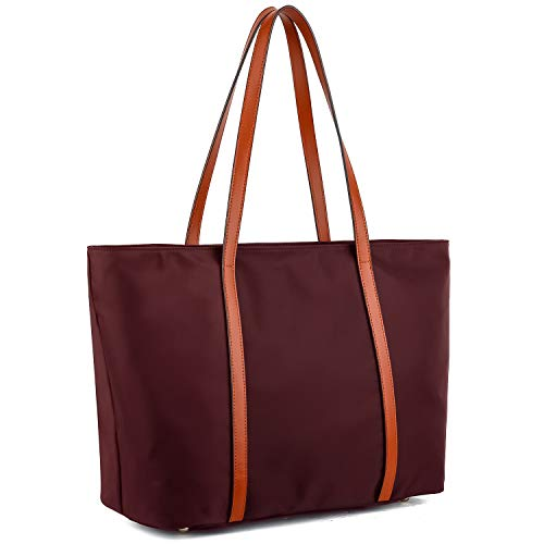 YALUXE Tote for Women Leather Nylon Shoulder Bag Women's Oxford Nylon Large Capacity Work fit 15.6 inch brown&red