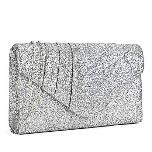Read more about the article Dasein Womens Evening Bags Glittery Pleated Clutch Handbags Envelope Purses for Prom Party Wedding Bridal Silver