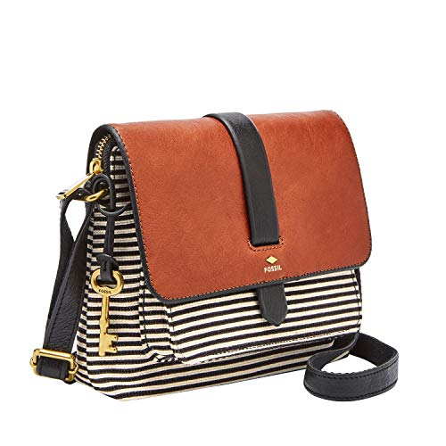 Read more about the article Fossil Women's Kinley Leather/Fabric Small Crossbody Handbag, Black Stripe