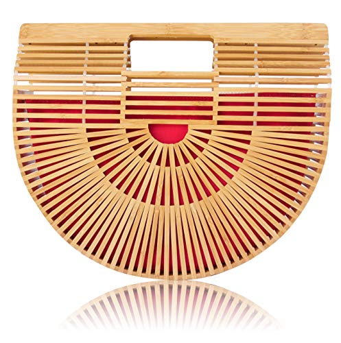 Read more about the article Bamboo Handbag with Reversible Purse Liner Insert for Women by la Bambu (Large 12.5 x 4 x 11 with Red and Beige Liner)