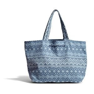 Margaritaville Womens Girls Everything Large Packable Canvas Market Tote Bag Mosaic Blue