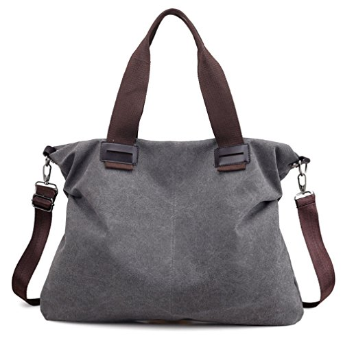 Women's Canvas Vintage Tote Shoulder Bag Hobo Daily Purse Top Handle Work Travel Handbag (Grey)