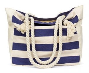 Read more about the article MalironaBeachCanvasTravelToteBag (Blue Stripes)