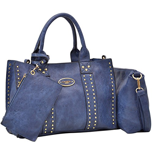 Women Vegan Leather Handbags Fashion Satchel Bags Shoulder Purses Top Handle Work Bags 3pcs Set Dark Blue