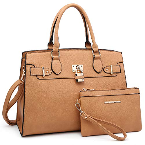 Women Handbags and Purses Ladies Shoulder Bag Ostrich Top Handle Satchel Tote Work Bag with Wallet (23- Tan)