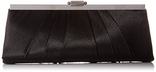 Jessica McClintock Blaire Womens Satin Frame Evening Clutch Bag Purse With Shoulder Chain Included, Black