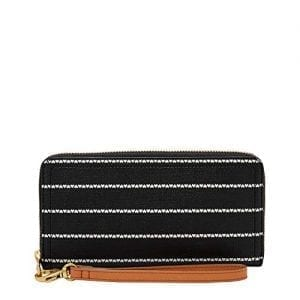 Read more about the article Fossil Women's Logan PVC Zip Around Clutch Wallet, Black/White