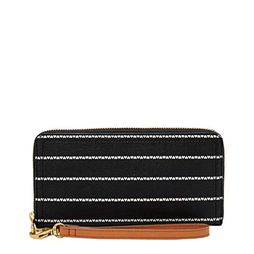 You are currently viewing Fossil Women's Logan PVC Zip Around Clutch Wallet, Black/White