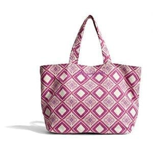 Margaritaville Womens Girls Everything Large Packable Canvas Market Tote Bag Mosaic Fuchsia