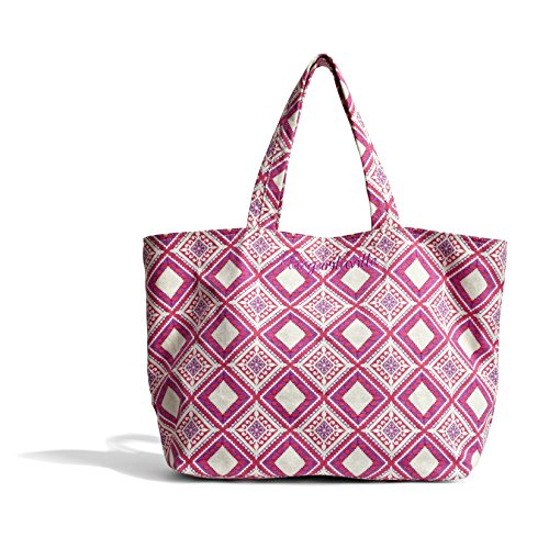 Read more about the article Margaritaville Womens Girls Everything Large Packable Canvas Market Tote Bag Mosaic Fuchsia