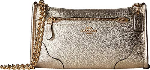 COACH Women's Grain Leather Mickie Crossbody Champagne One Size